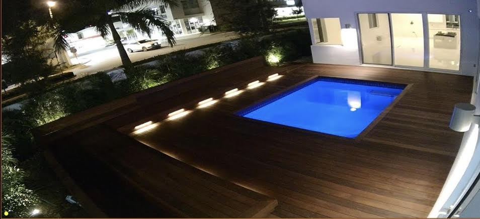Cumaru Deck & Blue Pool At Night